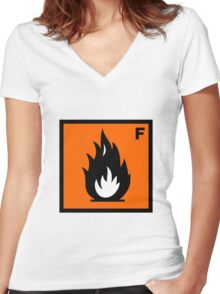 Flammable Symbol Women's Fitted V-Neck T-Shirt