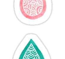 Turquoise blue and coral pink raindrops Sticker