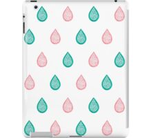 Turquoise blue and coral pink raindrops iPad Case/Skin