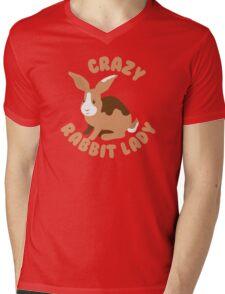 Crazy Rabbit Lady bunny (circle) Mens V-Neck T-Shirt