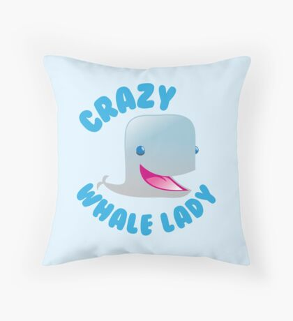 Crazy Whale Lady (circle) Throw Pillow