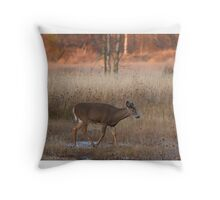 Sunset Wanderer - White-tailed deer Throw Pillow