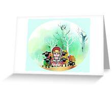 Bo Peep and her sheep momiji Greeting Card