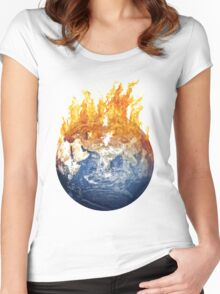 Earth global warming Women's Fitted Scoop T-Shirt