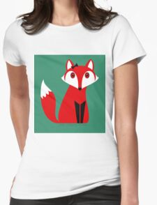 FOX WITH HAIR BOW Womens Fitted T-Shirt