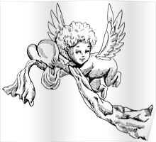 Black and white Cute Angel with heart Poster