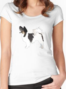 Long-haired Chihuahua Tri-Color Basic Breed Silhouette Women's Fitted Scoop T-Shirt