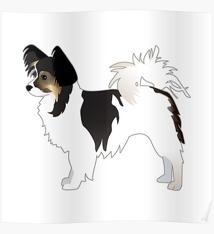 Long-haired Chihuahua Tri-Color Basic Breed Silhouette Poster