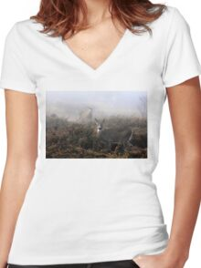 The rut is on! - White-tailed Buck and doe Women's Fitted V-Neck T-Shirt