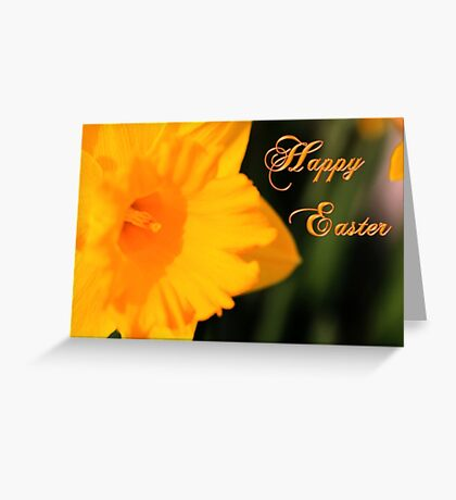 Happy Easter Yellow Daffodil Spring Flower Greeting Card