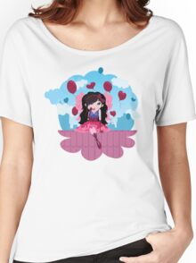 Cute cartoon love fairy with hearts and balloons Women's Relaxed Fit T-Shirt