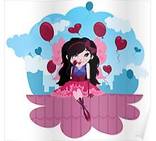 Cute cartoon love fairy with hearts and balloons Poster