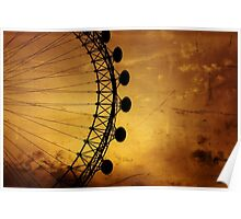London Eye silhouette on vintage canvass Poster