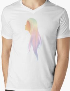 Hipster long-hair Girl Mens V-Neck T-Shirt