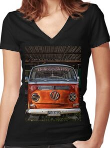 HDR Orange Volkswagen mini van Women's Fitted V-Neck T-Shirt