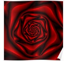Rose Spiral in Black and Red Poster