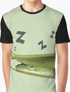 Silly Cute Cool Adorable Fun Sleepy Green Anole Lizard  Graphic T-Shirt