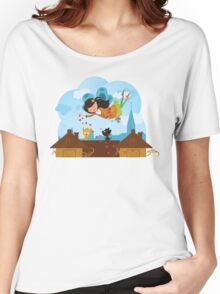 Cute cartoon love fairy with hearts and cats Women's Relaxed Fit T-Shirt