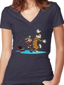 Calvin and Hobbes Dance Women's Fitted V-Neck T-Shirt