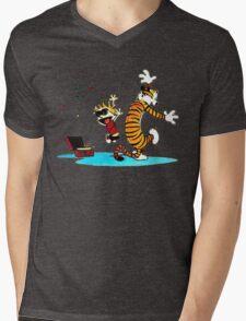 Calvin and Hobbes Dance Mens V-Neck T-Shirt