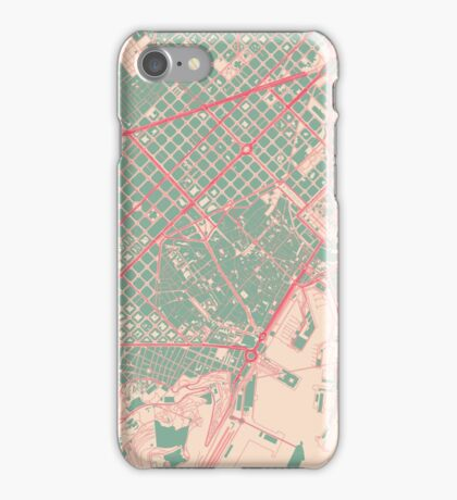 Barcelona Map (Springtime) iPhone Case/Skin