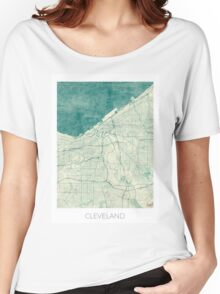 Cleveland Map Blue Vintage Women's Relaxed Fit T-Shirt