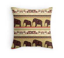 African style seamless pattern with elephant Throw Pillow