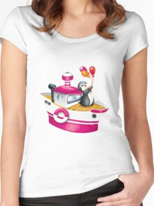 penguin on the skates Women's Fitted Scoop T-Shirt