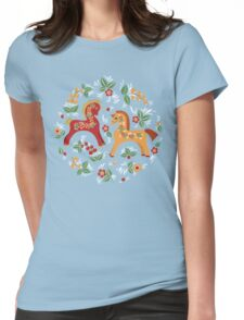 Folk horses pattern  Womens Fitted T-Shirt