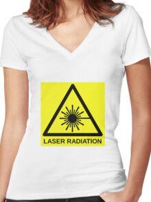 Laser Radiation Symbol  Women's Fitted V-Neck T-Shirt