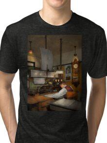 Steampunk - RR - The train dispatcher Tri-blend T-Shirt