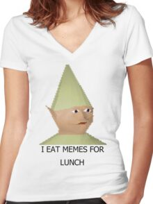 I eat memes for lunch Women's Fitted V-Neck T-Shirt