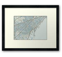 Barcelona Map (Winter) Framed Print