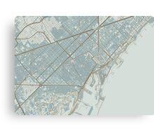 Barcelona Map (Winter) Canvas Print