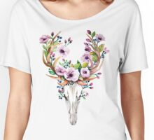 Boho watercolour skull with purple flower crown Women's Relaxed Fit T-Shirt