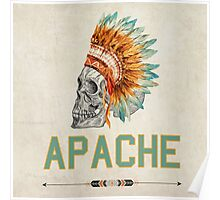 Apache Skullhead indians tribal feather Graphic T-shirt Poster