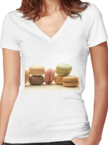 """Macarons by """"Provence Provence"""" Women's Fitted V-Neck T-Shirt"""