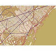 Barcelona Map (Autumn) Photographic Print