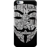 V For Vendetta - Guy Fawkes Masks - Typography iPhone Case/Skin