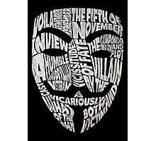 V For Vendetta - Guy Fawkes Masks - Typography Photographic Print