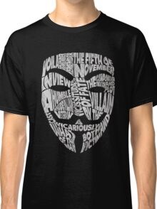 V For Vendetta - Guy Fawkes Masks - Typography Classic T-Shirt