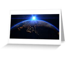Planet Earth with a spectacular sunrise Greeting Card