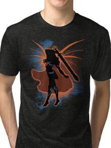Super Smash Bros. Orange Female Corrin Silhouette Tri-blend T-Shirt