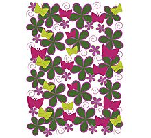 Spring Butterflies | Pink and Green Photographic Print