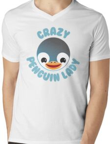 Crazy penguin lady (new in a Circle) Mens V-Neck T-Shirt