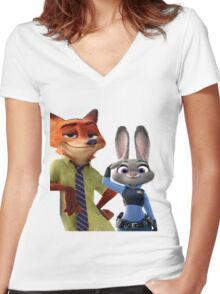 Zootopia Salute Women's Fitted V-Neck T-Shirt