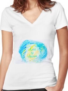 Inspirational abstract water color background Women's Fitted V-Neck T-Shirt