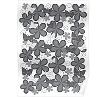 Spring Butterflies | Black and White Poster