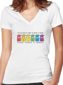 Reading Rainbow in Harmony Women's Fitted V-Neck T-Shirt
