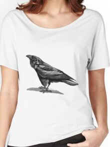 Vintage Raven Bird Illustration Retro 1800s Black and White Ravens Birds Image Women's Relaxed Fit T-Shirt
